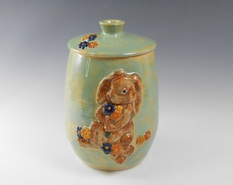 Pottery canister - bunny rabbit jar - ceramic lidded jar - pet urn - cremation urn  J60