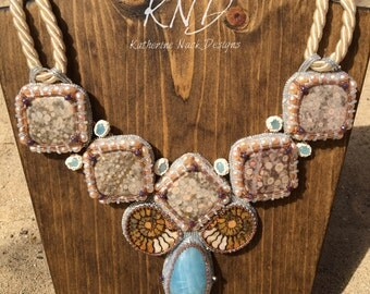 """Sea Queen"""" Aquamarine, Ammonite and Shell Fossil Bead Embroidery Necklace"""