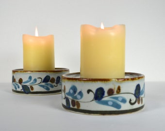 Ken Edwards Pillar Candle Holders Pair, KE Mexico Thick Ceramic Circles, Handpainted Bluebirds Flowers Leaves, Vintage Mexico Decor