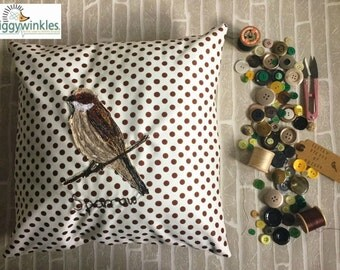 SALE,Embroidered Cushion, Sparrow Design, Decorative Pillow, Home Decor, Throw Pillow, Bird, Embroidery Design, Square Cushion