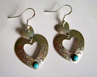 vintage heart earrings in sterling and turquoise