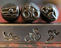 Swim Bike Run Metal Design 3 Stamp Set- 8MM- U.S.A. Made- Active Series Metal Stamps- Steel Stamps - SGAC-1,2,3