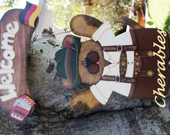 "Male Oktoberfest Outfit  - Wood ""Seasonal Bear/Dog/Cat"" Outfit - Interchangeable Outfit"