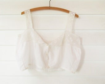 """Vintage 1900-10s Short Camisole - Off-white Crochetwork and Cotton Fabric - Size 38"""" Bust - Fashion History - Ready to Wear"""