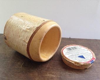 Vintage Norwegian arctic birch bark container Small wooden container Rustic home decor Scandinavian souvenir