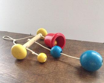 Vintage Swedish wooden toy Hanging baby toy Wood toy Handmade children toy Vintage nursery decor