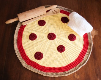 Crocheted Pizza Blanket and Chef Hat Photo Prop/ Newborn Photography Prop/ Chef Hat photo prop/ Pizza photo prop/ Baby shower gift