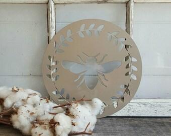 12 inch Laurel Wreath Bee Metal Sign
