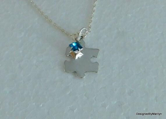 Sterling silver puzzle piece necklace, jigsaw puzzle pendant, Autism awareness, Autism speaks.
