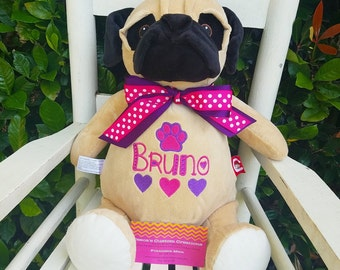 Personalized Pug Stuffed ANimal, Monogrammed Pug, Personalized Pug, Pug Cubby, Personalized Dog, Birth Announcement
