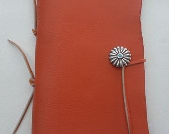 Orange Half Page Journal, Southwestern Orange Leather Journal, Orange Leather Journal, Orange Leather Notebook, Orange Writing Book