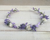 Purple Flower Crowns, Head wreath, Floral Crown, Newborn Photo Prop, Newborn Crown, Floral Headpiece, Floral Headdress, Bridal Crowns