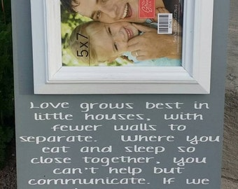 Love Grows Best in Little Houses, Family Wall Gallery, Love, Love, Wedding Gift, picture frame, hand painted wood sign