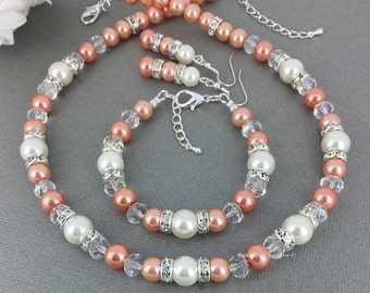 Coral Jewelry, Coral and Ivory Necklace Set, Bridesmaids Bracelet, Bridesmaids Gift, Coral and Ivory Wedding,  Summer Wedding, Wedding 2017