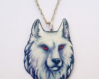 White Wolf Albino Direwolf Ghost Jon Snow Game of Thrones Song of Ice and Fire Stark Pendant Metal Necklace