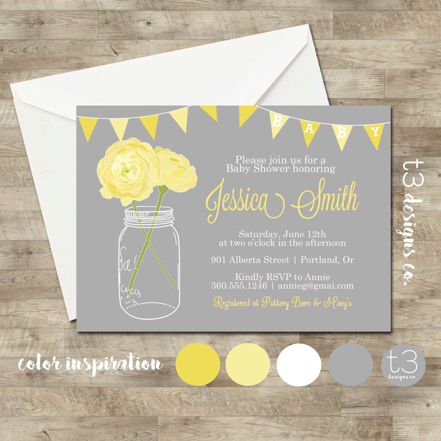 NEUTRAL Baby Shower Invitation, baby shower invite, mason jar baby ...