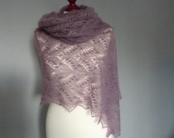 Lace hand knitted shawl, Mauve silk/mohair lace shawl, Estonian lace pattern.