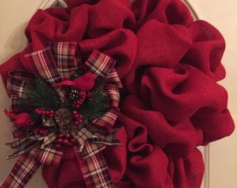 Christmas red burlap door wreath