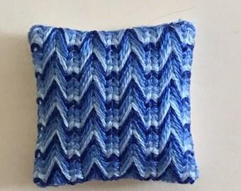 """Dollhouse Miniature Crocheted Blue Pillow 1"""" (JL)"""