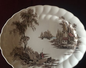 English Country Brown The Old Mill Serving Platter