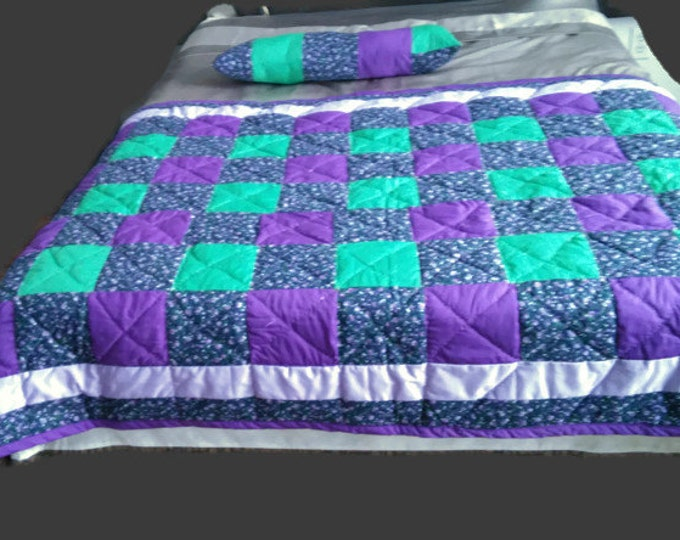 A Purple and Green Queen Bed Runner and one Matching Pillow, Wedding Gift