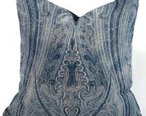 Blue, Gray & Off White Ralph Lauren Birchwood Paisley Dusk Pillow Cover, Throw Pillow Cover, 16x16, Accent Pillow, Lumbar Pillow