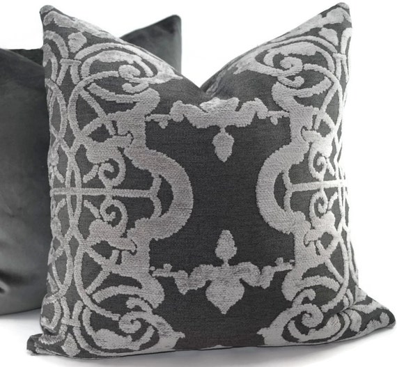 Throw Pillows Charcoal : Charcoal Gray & Light Gray Chenille Throw Pillow by ThePillowSpot