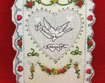 Valentines Day Card Love Boyfriend Greeting Valentine Be Mine Romantic Flowers Girlfriend Antique