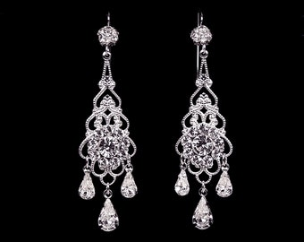 Bridal Earrings Wedding Earrings Swarovski Pearl and