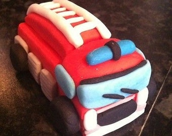 Edible fire engine cake topper decoration
