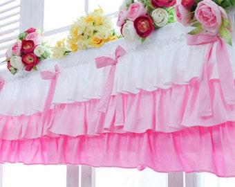 pink ruffled cotton valance curtains ribbon window treatment kitchen bedroom