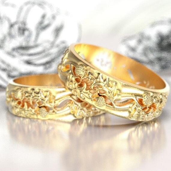 Thistle Wedding Ring Set, 10K 14K or 18K Gold Scottish Ring, Unique Ring, Botanical Jewelry, Handcrafted Rings, Platinum or Palladium 5064