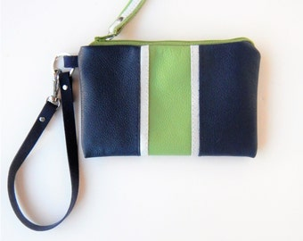 Navy and green leather wristlet in Seahawk colors.