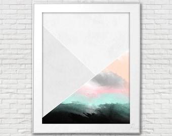 Printable abstract art Printable art Watercolor print Modern abstract art geometric art printable artwork Printable home decor wall art
