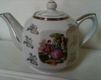 Vintage 'Victorian Courting Couple' Teapot - Japan - Gold Trim