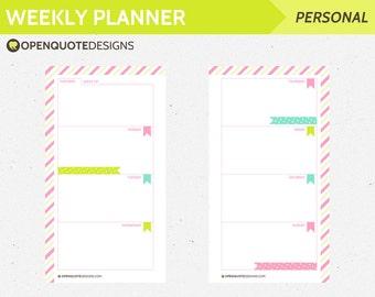 Printable Personal Filofax Personal Weekly Planner Inserts, Printable Filofax Inserts, Printable Weekly Planner, Personal Inserts