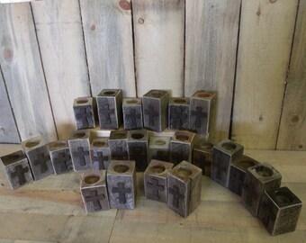 Tea Light set, 12-2 piece rustic sets with rustic cross,  wedding center piece