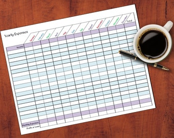 Yearly Expenses by Month Sheet//Monthly Budget//Tax Time Helpers//Track Expenses//Financial Tools//Home or Small Business//Printable