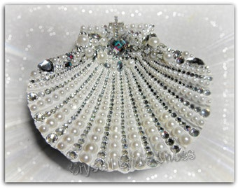 Natural scallop shell, customised with paint, your choice, and encrusted with faux pearls and crystals. Baptisms, Christenings, Weddings