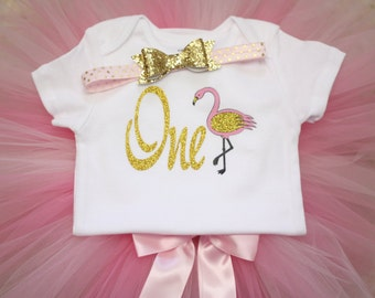Birthday Outfit, Flamingo, Pink and Gold, First Birthday Outfit