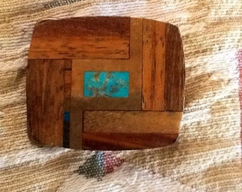 BUCKLE Turquoise Brass Exotic Woods Vintage