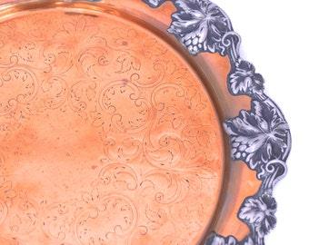Vintage Copper & Pewter Tray, Round Copper Tray, Art Nouveau Copper Tray, Copper Home Decor, Engraved Copper Dish, Copper Fruit Dish