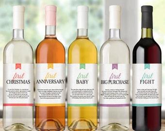 Waterproof Wedding Wine Bottle Labels for Wedding Gift, Bridal Shower, Wedding Shower - Set of 5