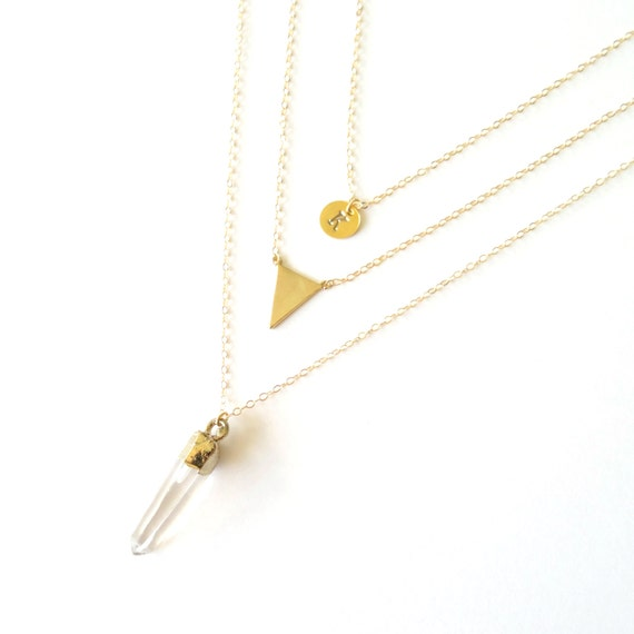 Monogrammed Necklace, Healing Crystal Necklace, Gold Layering Necklace, Simple Delicate Necklace, Gold Triangle Necklace, Delicate Necklace