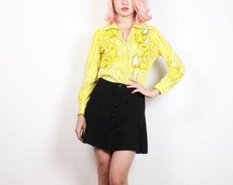 Vintage 1970s VERA Blouse Yellow White Tan Floral Stripe Print Long Sleeve Designer 70s Hippie Disco Button Down Collared Shirt XS S Small M
