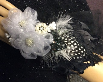 Jewelry/Feather/Fabric Wedding Corsage-Brooch Corsage-Gatsby Corsage-Black and White Feather Cuff Bracelet-Jewelry Cuff Bracelet-Corsage