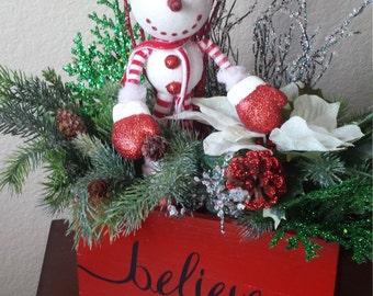 Snowman Christmas Centerpiece