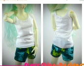 Sale 25% Off BJD MSD 1/4 Doll Clothing - Pajama Set - Green Dinosaurs