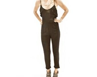 1980s Blackalicious: Knit Ruffled Jumpsuit  >SM-MED