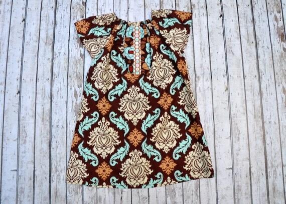 Damask Peasant Dress 2/3